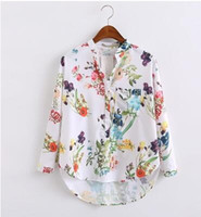 Wholesale Dip Hem - Multicolor V Neck Floral Print Tops Blouses Casual 2017 New Shirts For Women Vogue Long Sleeve Buttons Dip Hem Blouse European Street shirt