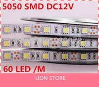Venta al por mayor-LED tira 5050 SMD 12V luz flexible 60LED / m, 5m 300LED, blanco, blanco caliente, azul, verde, rojo, amarillo