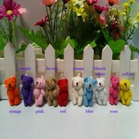 Wholesale Teddy Bear Boxes Wholesale - Wholesale- 10 pcs lot, 3.5CM Joint Teddy Bear Plush Stuffed TOY Wedding Bouquet Candy BOX TOY Garment & Hair Accessories10 colors to choo