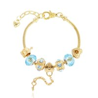 embarque granadas de buracos grandes venda por atacado-Novo charme pulseira pulseiras de ouro banhado a forma de coração pulseiras grandes contas de buraco liga pulseiras frete grátis