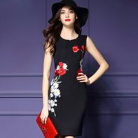 Wholesale Cheongsam Mini Skirt - Dresses Fashion Summer Dress New High-end Round Collar Embroidery with A Dress To Improve The Daily Sleeveless Cheongsam Skirt