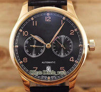 nuevo día rosa al por mayor-Barato New Portugieser IW500125 esfera negra, caja de oro rosa, 7 días Reserva de energía automática para hombre reloj correa de cuero hebilla plegable Relojes
