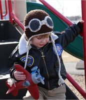 chapéu recém-nascido do piloto do menino venda por atacado-Aviador Chapéu Crianças Piloto Crochet Malha Chapéu Do Bebê Das Meninas Dos Meninos Das Crianças Beanie Earflap Tampão Do Animal de Inverno Recém-nascido Infantil Criança Crianças foto adereços
