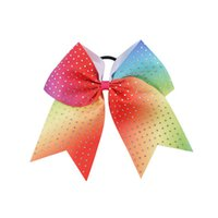 Wholesale Kids Bow Hair Band - 20 Pcs lot 7.5 inch Rainbow Rainestone Cheer bow With Elastic hair Band For Kids Girl Cheerleading Bow For Children