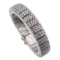 Wholesale Dazzling Party Bracelets - Sterling Silver Bracelet Handmade Natural White Topaz Dazzling Sparkle Crystal Links Bracelets Nice Jewelry 7 Inch