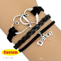 Wholesale wholesale dance bracelets - Anchor Dream I Love Dance Mom Dancer Charm Wrap Bracelets Leather Wax Bracelets Unisex kid child girls Women Fashion Gift Custom