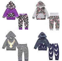 Wholesale Wholesale Childrens Sweatshirts - 2017 Girls Baby Childrens Clothing Sets Long Sleeve Hoodies Tops Pants 2Pcs Set Cotton Toddler Sweatshirts Infant Boutique Clothes SK01