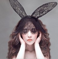 Wholesale Headband Lace Mask - Halloween Sexy Lace Black Rabbit Ears Lace Gauze Veil Hair Mask Headband Headdress Hairband Night Club Party wear XZ71