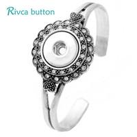 Wholesale antique bangle bracelets - Wholesale- P00968 Newet Men's Snap Button Bracelet&Bangles Antique Silver Charm Cuprum Bracelets For Women 18mm Rivca Snap Button Jewelry
