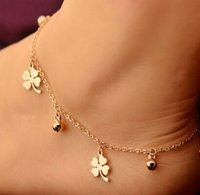 Wholesale Lucky Leave - Crystal Daisy Lucky Four Leaves Clover Charm Multilayer Sexy Foot Bracelet Leg Chain Women Titanium Stainless Steel Rose Gold Fashion Ankle