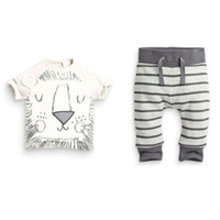 Wholesale little boys summer clothes - Infant clothes baby clothing sets boy Cotton little monsters and the lions short sleeve 2 pcs baby boy clothes