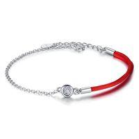 rote fadenkristalle großhandel-BELAWANG Spezielle Design 925 Sterling Silber Kristall Armband Roter Faden Seil Armband Frauen Mädchen Schmuck für Valentinstag Geburtstagsgeschenk