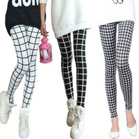 black and white houndstooth leggings - New Women Pants Trousers For Ladies New Style Black and White Plaid Leggings Houndstooth Casual Leggings