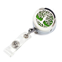Wholesale Key Badges - 6 Styles Life Tree OM Lotus Aroma Essential oil Locket Metal Retractable Badge Reel Key 30MM ID Card Clip Ring Lanyard Name Tag Card Holder