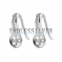 Wholesale Earwire Earrings - Fishhook Earring Settings Blank Base Earwire 15*6mm 925 Sterling Silver Zircon Jewellery Findings for Pearl Party
