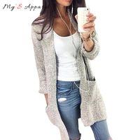 Wholesale Grey Knit Cardigan Women - Wholesale-My'S 2016 Autumn Winter Fashion Women Long Sleeve Loose Knitting Cardigan Sweater Womens Knitted Female Grey Cardigan Pull Femme