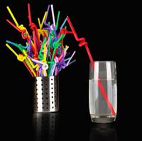 Wholesale tea measure for sale - Group buy 100PCS Food Grade PP Plastic Flexible Ice Tea Bar Party Disposable Drinking Drink Straws Bendable Multicolor