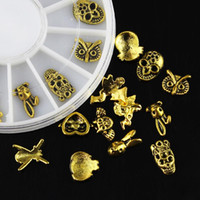 Wholesale Nail Glitter Skulls - Wholesale- 12 Pcs Box Owl Rabbit Skull Angel 3D Nail Art Decorations Glitter Golden Alloy DIY Tools For Charms Nails Wheel ZP181