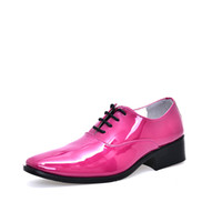 Wholesale Careers Wine - cheap man wedding shoes solid orange rose red blue wine red color mens glossy party shoes quality leather dress shoes gents male