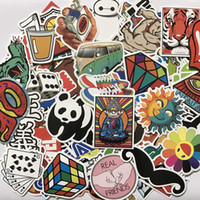 Wholesale Cute Animal Stickers - 500pcs lot Multi Design Random Music Film Vinyl Skateboard Guitar Travel Doodle Graffiti Decal Cute Fashion Car Funny Stickers