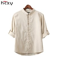 Wholesale Long Mens Pointed Collar Shirts - Wholesale- HCXY Chinese style linen shirt mens blouse new big yards 7 points sleeve cotton shirt M-5XL famous brand men shirts 2016