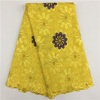 Wholesale Purple Voile African Lace - 5 Yards lot Luxury yellow and purple embroidery african cotton lace fabric flower design swiss voile lace for clothes