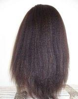 Wholesale Coarse Wigs - African hair wig kinky straight lace front wig italian yaki or coarse yaki human hair full lace wigs