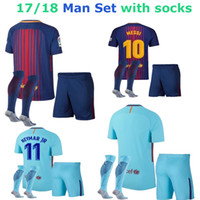 Wholesale Men Sport Socks Set - NEW 17 18 Spain Club Sports Suarez ADULT SETS socks outdoor socks Messi A.INIESTA neymar jr with soccer sock running socks