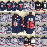 jersey zach parise usa hockey achat en gros de-Team USA Ice Hockey Jersey OLYMPIC # 9 Zach Parise # 88 Patrick Kane # 15 Jamie Langenbrunner # 30 Tim Thomas White Jerseys