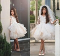 Wholesale Tiered Ruffle Shirt Girl - Stunning Tiered Tulle Skirts Flower Girl Dresses Floral Appliques Long Sleeve Girls Junior Bridesmaid Dress Knee Length Kids Formal Wear