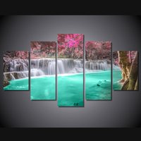 Wholesale Canvas Oil Painting Landscape Forest - 5 Pcs Set Framed HD Printed Waterfall Forest Landscape Picture Wall Art Canvas Print Decor Poster Canvas Modern Oil Painting