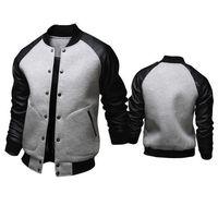Wholesale Varsity Jacket Designs - Wholesale- Cool College Baseball Jacket Men 2017 Fashion Design Black Pu Leather Sleeve Mens Slim Fit Varsity Jacket Brand Veste Homme