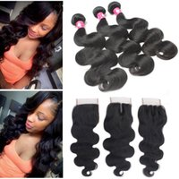 Wholesale Brazilian Remy Body Wave Products - Brazilian Virgin Hair Weaves 3 Bundles With Closure Hair 1B Soft Body Wave Peruvian Human Hair Top Lace Closures With Weft Products