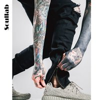 Wholesale Skinny White Harem Pants - Wholesale-man mens hiphop biker joggers harem pants men swag work side zipper casual cargo sweatpants black white urban clothes clothing