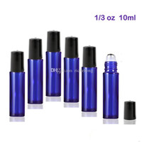 Wholesale Stainless Steel Bottle Print - High Quality 300pcs lot 10 ml Glass Roll-on Bottles with Stainless Steel Roller Balls For Essential Oils (Blue)