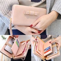 Wholesale Large Vintage Clutch - NEW 2017 HOT Women Bowknot Wallet Long Purse Phone Card Holder Clutch Large Capacity Pocket