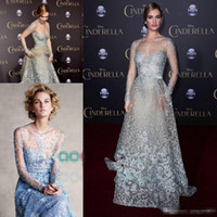 Wholesale Couture Evening Gowns - Cinderella In Elie Saab Couture Red Carpet Celebrity Dresses 2017 Modest Sky Blue Lace Pearls Illusion Long Sleeve Formal Prom Evening Gowns