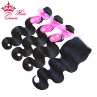 "Wholesale Queens Brazilian Body Wave - Queen Hair 1pc Lace Closure With 3Pcs Bundle,4pcs lot Brazilian Virgin Human Hair Extensions Body Wave 10""-28"""