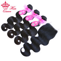 kraliçe insan bakire uzantıları saç toptan satış-Kraliçe Saç 1 Adet Ile 1 adet Dantel Kapatma Paket, 4 adet / grup Brezilyalı Virgin İnsan Saç Uzantıları Vücut Dalga 10