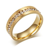 Wholesale Simple Single Rings - Meaeguet Single Row CZ Ring Micro Pave Jewelry Simple Plated Gold Wall Pattern Men Male Ring 316L Stainless Steel Rings R-095G