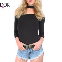 Wholesale Women S Cut T Shirt - Wholesale- DIDK Summer Women Sexy Tops Black Off The Shoulder Cut Away Boat Neck Three Quarter Length Sleeve Zipper T-shirt