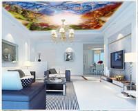 Wholesale Classic Beautiful Paintings - High Quality Custom 3d ceiling wallpaper murals Beautiful Garden Four Seasons Modern Oil Painting Ceiling Zenith Mural
