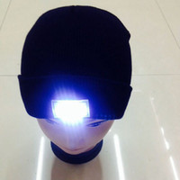 Wholesale Womens Running Hats Black - Hot led knitted beanie hat for men 12 colors womens winter warm 5 lights LED glowing knitting caps Angling Hunting Camping Running glow hat