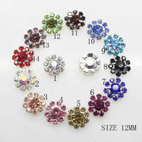 Wholesale Wholesale Flower Rhinestone Embellishments - 100pcs 12mm Flower Metal Rhinestone Button Flatback Wedding Decor Embellishments Crafting DIY Accessory Buckles