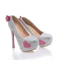 Wholesale Cute Heels Pumps - Newest Designer Silver With Pink Color Bridal Weddig Shoes Cute Pink Rhinestone Bowknot Decoration Party Prom Anniversary High Heels