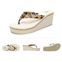 Wholesale High Heel Wedge Applique - Women Beach Sandals Fashion High Heels Sandals Wedges Flip Flops Platform Slippers Shoes zapatillas chinelo sandalia flats