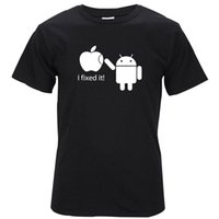 Wholesale Android T V - 2017 100% Cotton Men T Shirts Android Robot Male T-Shirt Apple Humor Logo Printed Funny T Shirt Short Sleeve Round Neck Tees