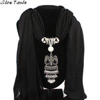 Wholesale Pashminas Pendants - Wholesale- Scarf Women Stylish Necklace Scarves Owl Pendant Women Tassel Winter Scarf Cachecol Mulheres #2913