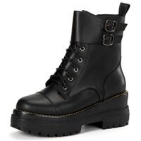 Wholesale Trendy Lace Up Ankle Boots - SJJH Fashion women real leather thick platform mid calf martin boots with lace up and strap buckle trendy shoes SCL059