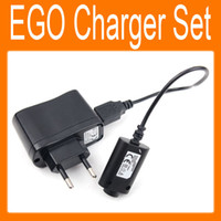 Wholesale Ego T Charger Wall Adapter - Electronic Cigarette Charger Set USB charger Cable US EU AU Wall Adapter for EGO e Cigarette EGO-CE4 T K W